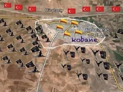 Map of Kobane and combatant forces
