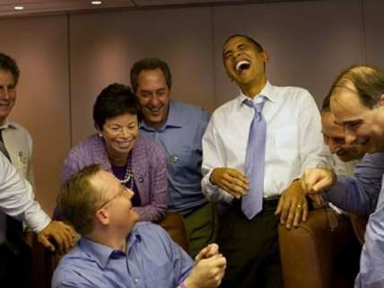 Obama and friends laughing