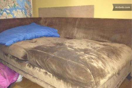 Would you pay $10 per night to sleep on this couch on Manhattan's Upper West Side? |||