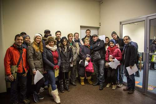 Pro-Airbnb Activists drop off a petition with NY State Sen. Liz Krueger ||| Photo by David Medeiros, courtesy of Peers.