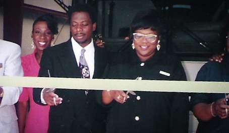 Jeff and Judy Rodgers, at the ribbon cutting for their new garage, 1995. |||