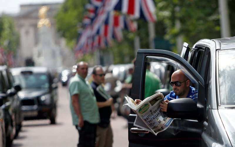 The cabbies of Europe protest against Uber.