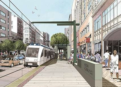 Detroit's coming light rail line on Woodward Avenue. |||