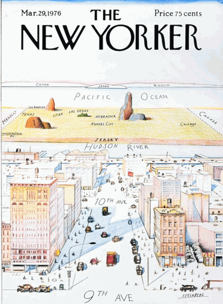 """""""View of the World from Ninth Avenue"""" by Saul Steinberg 