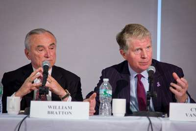 NYPD Commissioner William Bratton and NY County DA Cyrus Vance, Jr. at a Manhattan Institute panel on broken windows policing. ||| Jim Epstein