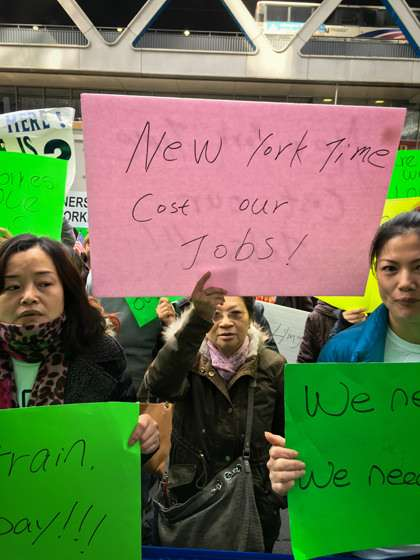 Nail salon protest at The New York Times, October 27, 2015. |||