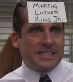 """Hi, I'm Michael Scott and I'm in charge of Dunder Mifflin Paper Products here in Scranton, Pennsylvania. But I'm also the founder of Diversity Tomorrow, because 'today is almost over.' Abraham Lincoln once said, 'If you are a racist, I will attack you with the North,' and those are the principles I carry with me into the workplace."""