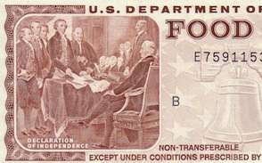 An old-school food stamp from 1981. I'm not sure the Declaration of Independence is the most appropriate illustration.