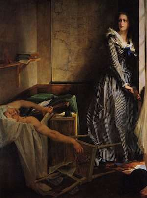 Poor Marat in your bathtub seat/your life on this planet is near complete/Closer and closer to you death creeps/though there on her bench Charlotte Corday sleeps