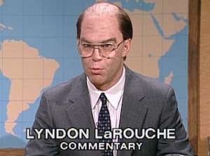 Note: This is actually Al Franken. Lyndon LaRouche has never appeared on Saturday Night Live.