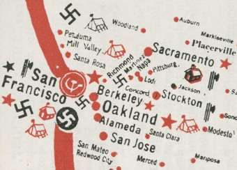 From a 1941 map of alleged Fifth Column activities. Click to see the whole thing.