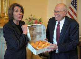 as if Nancy Pelosi would be caught dead actually eating a donut