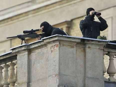 Snipers keep watch at Westergaard ceremony