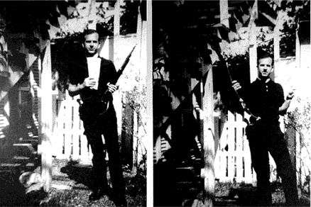 Oswald holding gun and The Militant