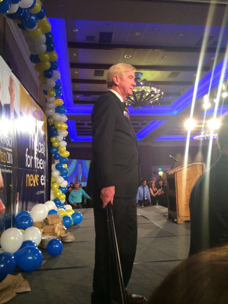 Bill Weld on election night. ||| Matt Welch