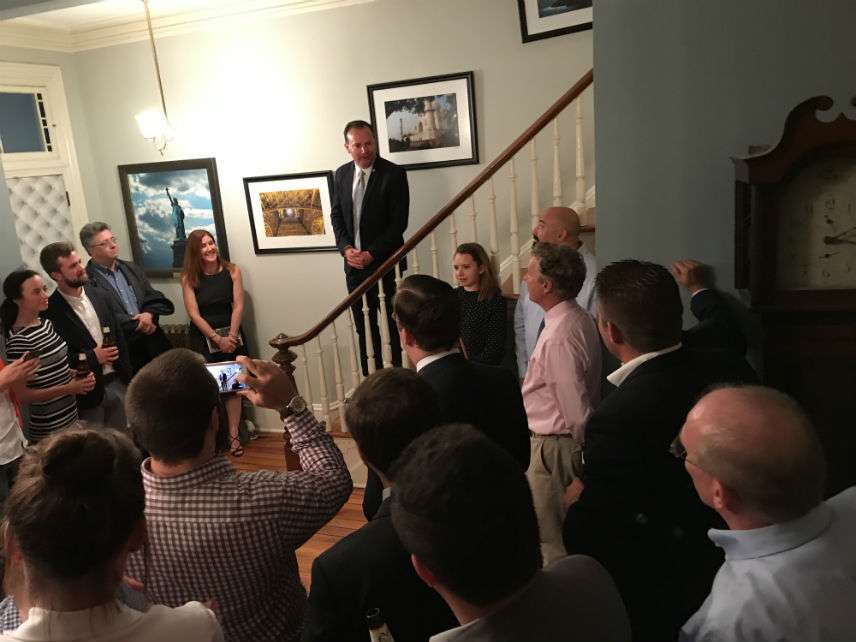 Mike Lee speaking at a book party Monday. ||| Matt Welch