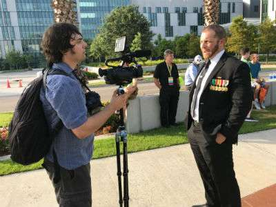 Adam Kokesh before his March for Dead Veterans event in front of the New Orleans V.A. Medical Center ||| Matt Welch