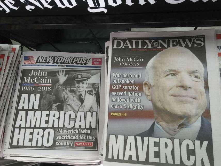 New York newsstand after John McCain's death. ||| Richard B. Levine/Newscom