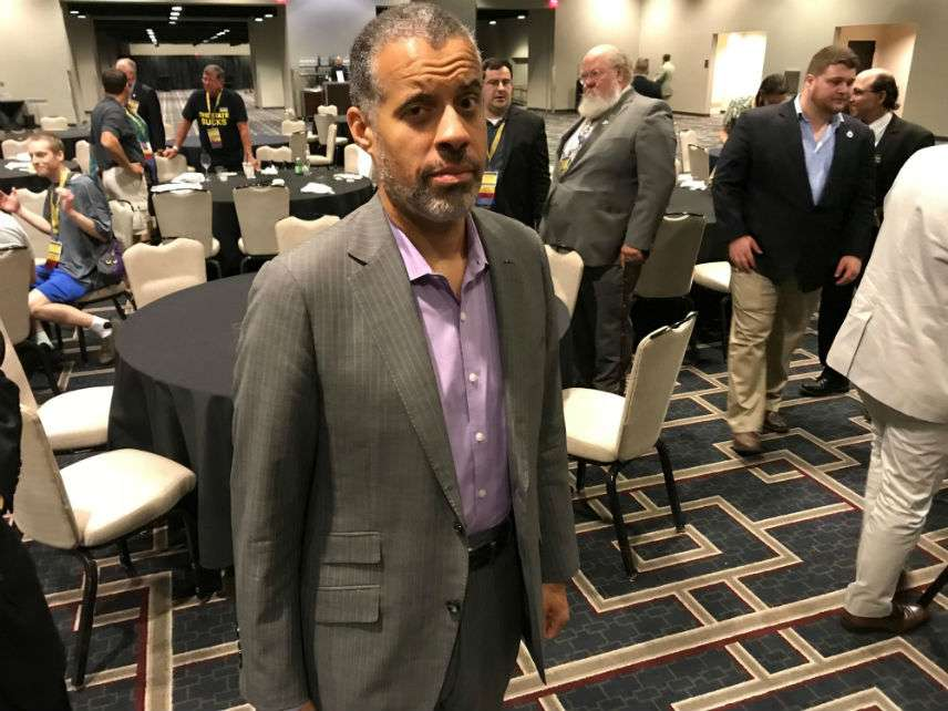 Larry Sharpe at the 2018 Libertarian National Convention. ||| Matt Welch