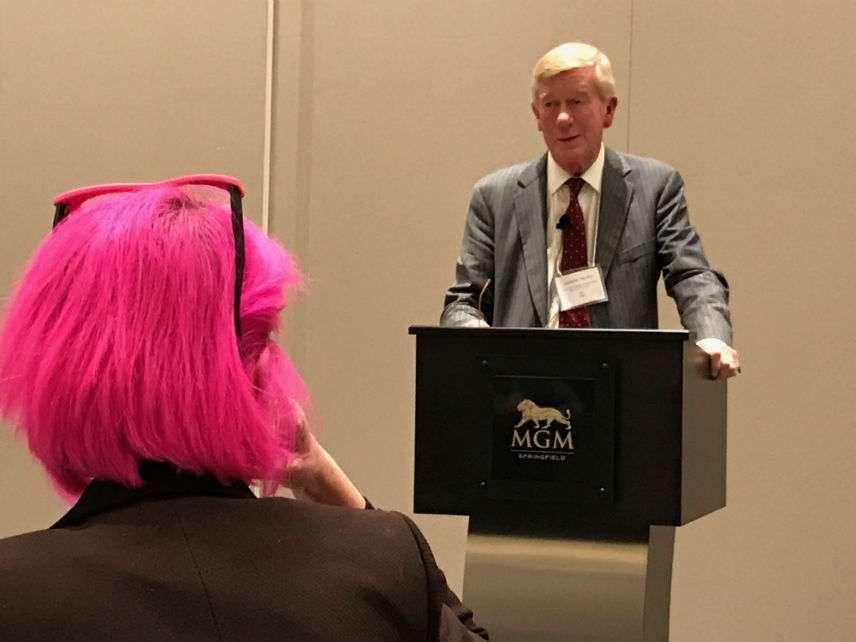 Bill Weld speaks, Caryn Ann Harlos listens. ||| Matt Welch