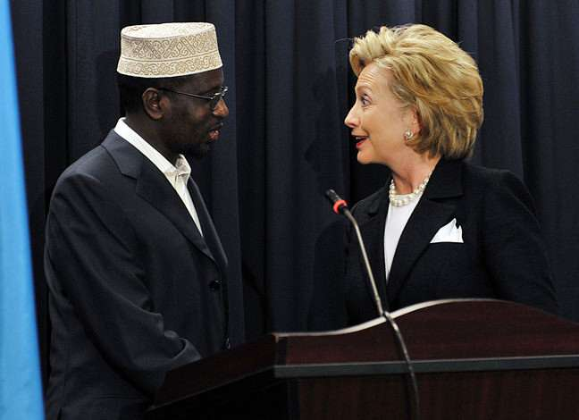 Hillary was certainly not expecting the handshake tickle she got from Somali President Sheikh Sharif