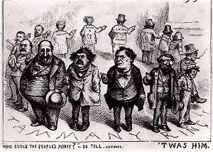 Tammany Hall, where politicians knew how to get results, drawn by Thomas Nast.