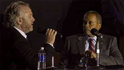 This is not a traveling production of I'm Not Rappaport. It's Andrew Breitbart and Juan Williams discussing school reform in Pomona, California.