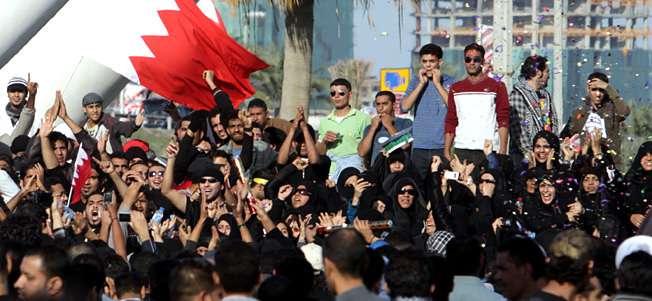 Protesting Bahraini women wear sunglasses, like common whores.