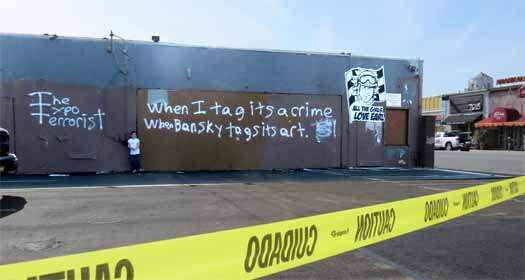 Banksy might object to the spelling, but this is after all the Typo Terrorist.