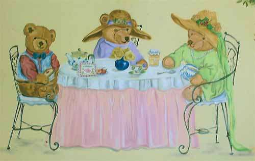 They're bears, see, and a bear is the symbol of California, and it's a tea party.