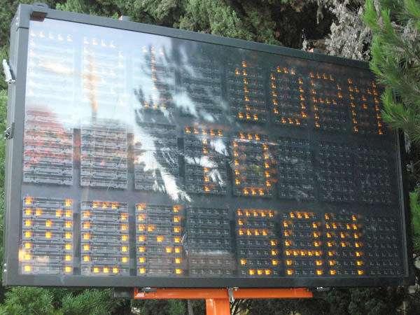 Carmageddon: LED roadside readout July 11 2011.