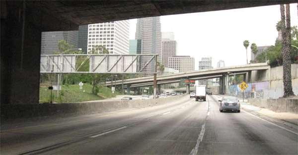 Carmageddon: Traffic light on Interstate 110 Downtown July 16 2011.