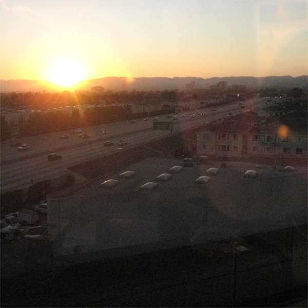 Carmageddon: The sun sets on a sleepy Interstate 405.