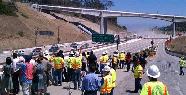 Carmageddon: Mulholland Bridge still standing after work completed July 17 2011.