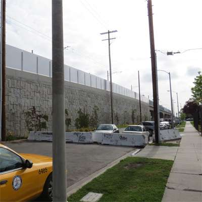 Exposition Boulevard at La Brea Boulevard is closed to through traffic, exacerbating L.A.'s traffic congestion.