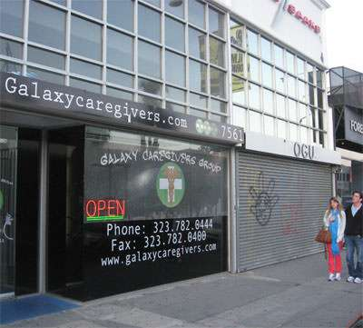 Galaxy Caregivers, 7561 Melrose Ave., with empty storefront next door.
