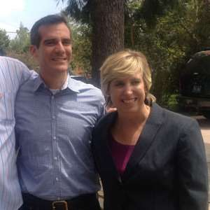 Eric Garcetti and Wendy Greuel attempt to avoid physical contact at a Mar Vista shindig for big city politicians in June 2012.