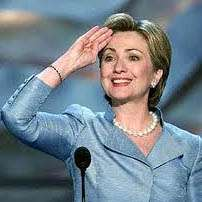 Hillary Clinton gives sharp salute to a country in the process of giving her a one-finger salute, January 2008.