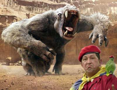 A CGI knockoff of the Rancor holds no terrors for conqueror of Mars Hugo Chávez.