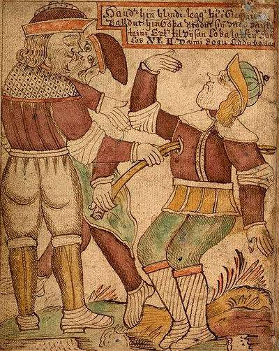 Baldr being killed by his blind brother Höðr in a comic misunderstanding.