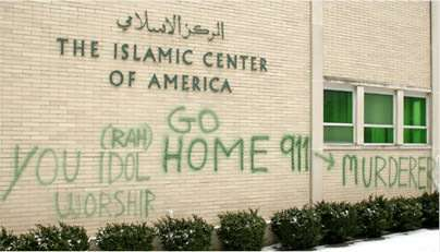 Anti-Islam graffiti at Dearborn, MI's Islamic Center of America