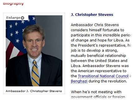 Ambassador to Libya J. Christopher Stevens was killed September 11, 2012.