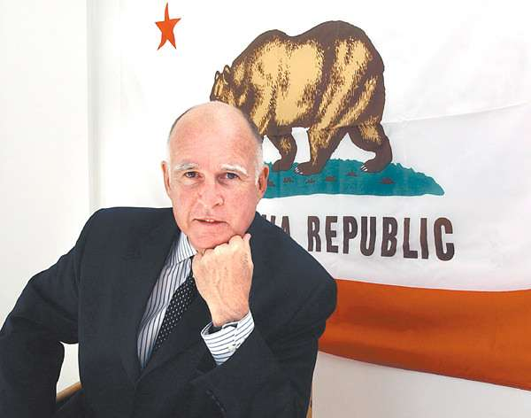 Jerry Brown does his best thinking in this position.