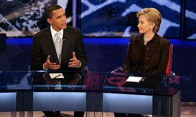Barack Obama and Hillary Clinton debate, handicap the Oscars at the Kodak Theater in January 2008.