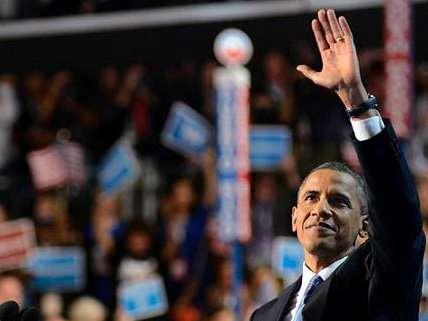 President Barack Obama addresses the 2012 Democratic National Convention.