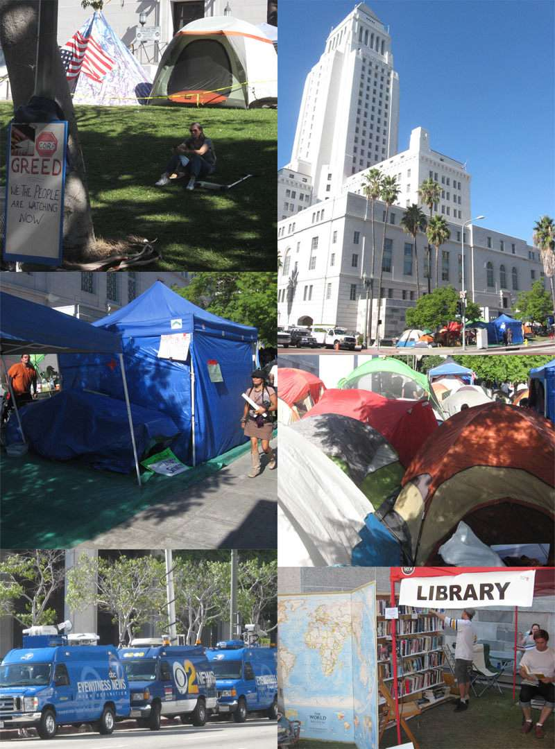 Occupy L.A. at City Hall, featuring a library, food stand, first-aid station, and about 100 tents.