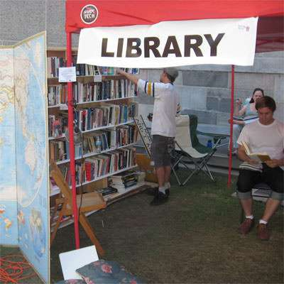 The Occupy L.A. library provided diversion for Occupiers' many hours of idleness.