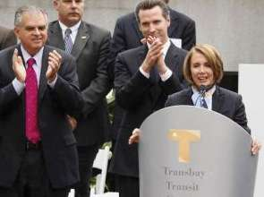 Three great leaders lay the tombstone of San Francisco's Transbay Transit Terminal.