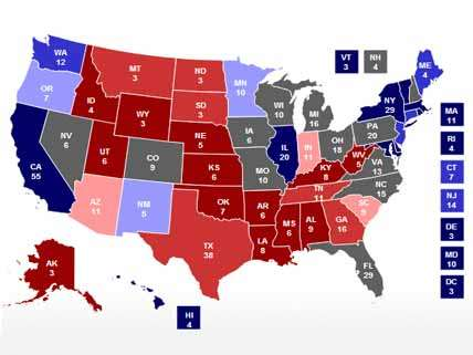 Electoral map as of October 11 2012 polling
