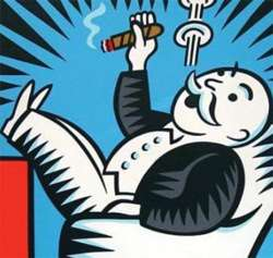 Rich Uncle Pennybags is celebrating the federal stimulus matching funds that the free market has added to his existing subsidy for using environmentally friendly humidors throughout his headquarters (which was built with enterprise zone tax credits).